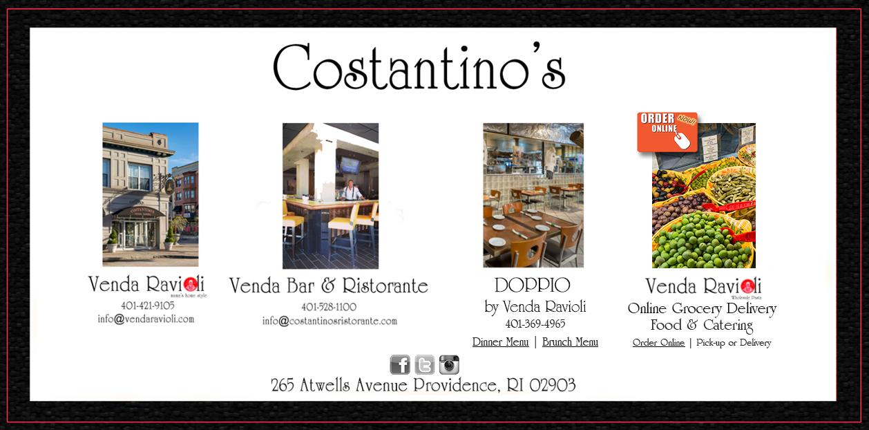 Venda Ravioli Italian Grocery And Restaurant Costantino S Bar Ristorante Catering Federal Hill Providence Rhode Island